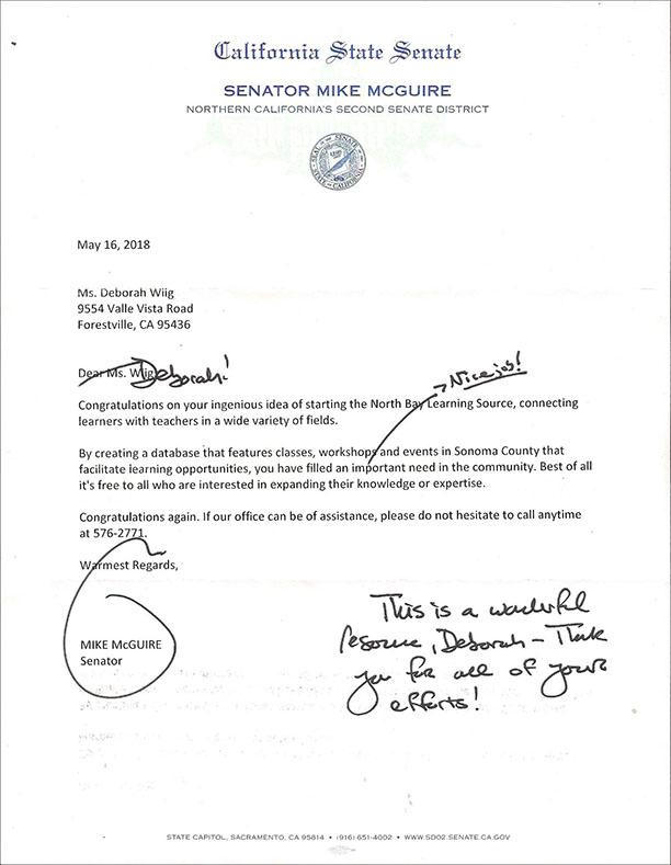 Letter Senator Mike McGuire