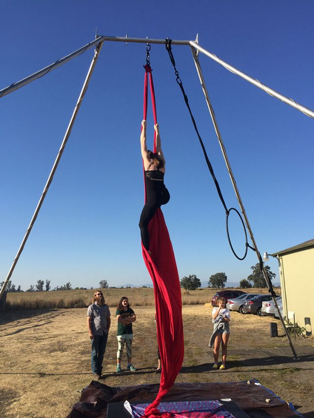 Demonstration of aerial silks by SoCo Aerial Collective at Learnapalooza 2018